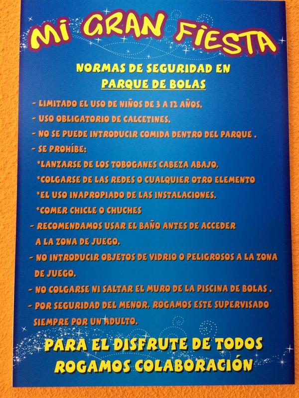 Normas de seguridad parque de bolas